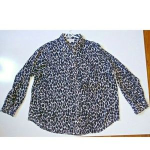 Womens plus size Animal Print top black white